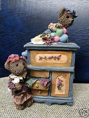 Vintage Country Blue DRESSER Piggy Bank w Teddy Bears Balloons Flowers Hinge Lid