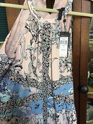 Aqua Womens White Jacquard Floral Print V-Neck Mini Dress L BHFO 6257