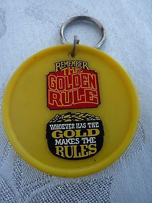 """GOLDEN RULE ,** Vintage  1970's - 1980's   KEYRING **2 """" *"""