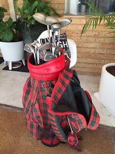 SOLD Ladies golf clubs in tartan golf bag
