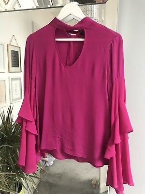 M&S Marks And spencers Ms Autograph Top Fuschia Pink Bell Sleeve Bloggers - Pink M And Ms