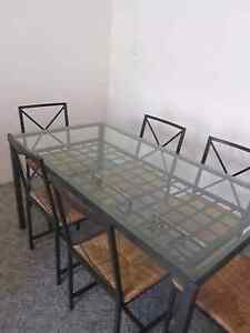 Tempered glass dining table with 6  chairs Brighton-le-sands Rockdale Area Preview