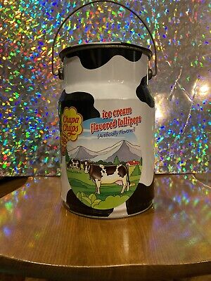 Vintage 1995 Chupa Chups 2nd Edition Lollipops Milk Can Shaped Advertising Tin