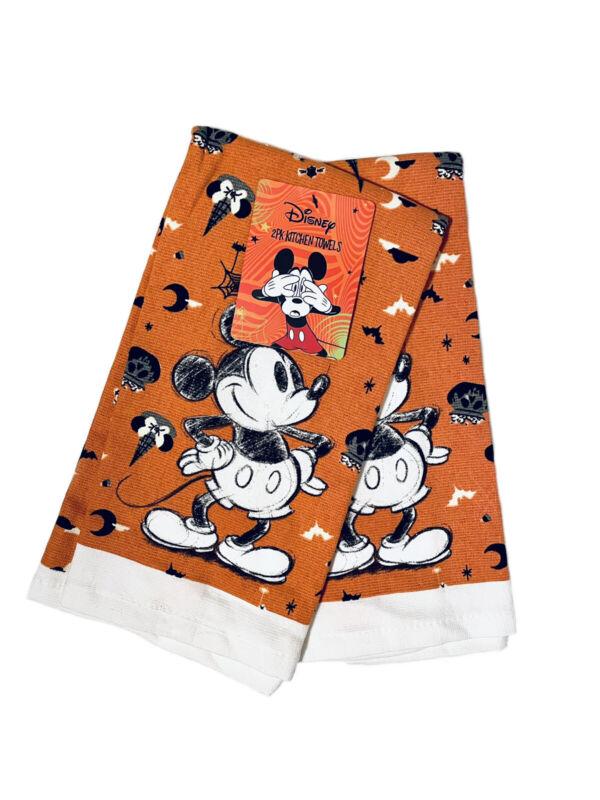 "Disney Mickey Mouse Halloween Fall Halloween 2pk Kitchen Towels 16"" x 26"" NWT"