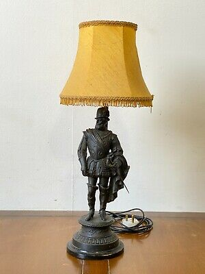 Vintage Sir Walter Raleigh cast spelter statue figurine table lamp conversion