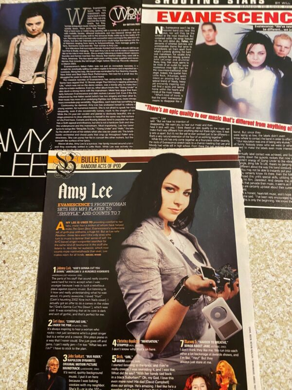 Evanescence, Amy Lee, Lot of THREE Full Page Clippings