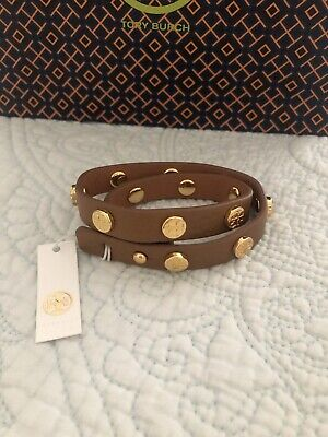 TORY BURCH Double Wrap Logo Stud Bark Leather Cuff Bracelet Reversible NWT
