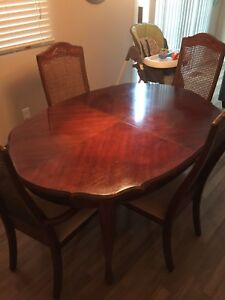 Six chair antique cherry wood dining set