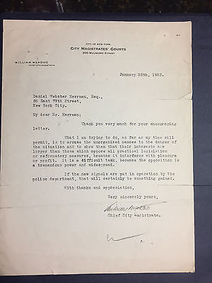 William G McAdoo Secretary of the State Letter Jan 25 1923 signed