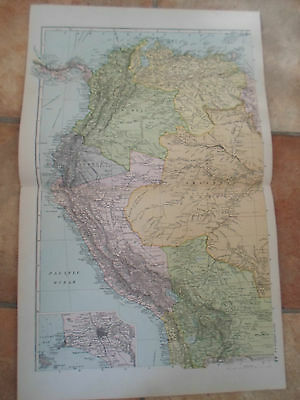 Old Map SOUTH AMERICA N.W. From Bacon's Popular Atlas Of The World 1907 (No 44)