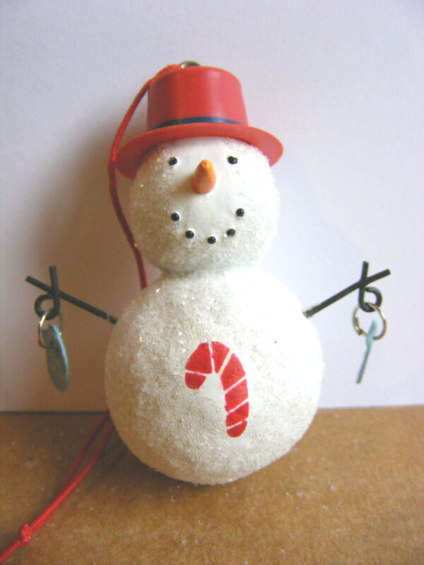Snowman Christmas Ornament Red Hat Dangling Mittens Candy Cane For Charity