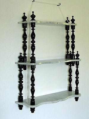 Altes zweistufiges französisches Regal Etagere Marmor Holz Wandregal Shabby chic