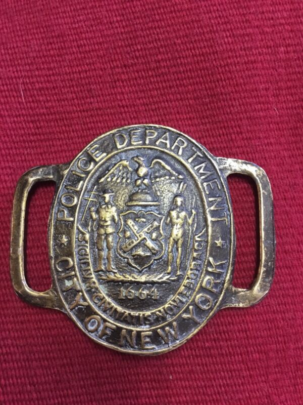 "VINTAGE BRASS NYC POLICE BELT BUCKLE ""RARE"""