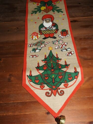 Cute Vintage Christmas Swedish Bell Pull Presents Tree Tomte Heart