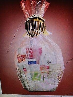 Avon Gold Tone Gift Basket - Lot of 5! Includes basket tissue cellophane bow DIY - Wholesale Gift Basket Supplies