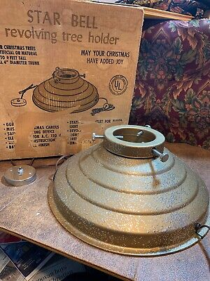 Vintage Star Bell Rotating Gold Glitter Christmas Tree Stand in Box