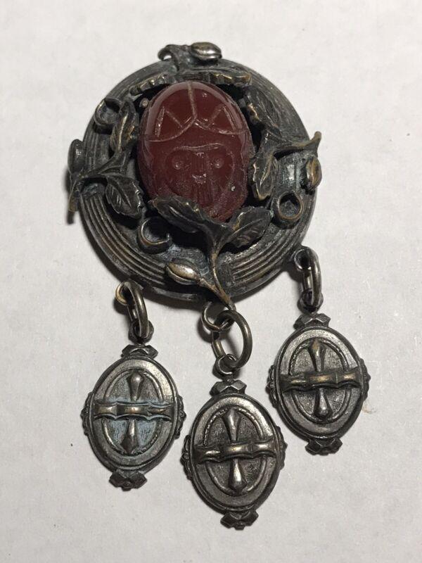 Vintage Egyptian Scarab Silver Tone Scarf Clip Unique~ Old Carnelian Stone