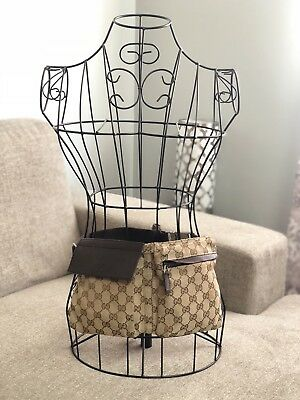 GUCCI Beige/Ebony GG Waist Belt Bag Backpack Purse