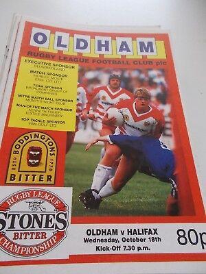 18.10.89 Oldham v Halifax programme