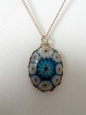 Ladies VINTAGE PENDANT * BLUE MILLIFIORE GLASS * Sterling Silver Chain Necklace