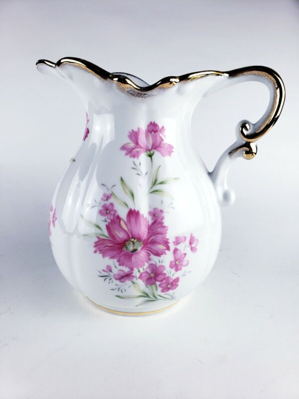 Porcelain Handpainted Water Pitcher Gilded Pink Flowers 7577🌸