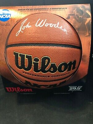 New in Box UCLA Coach John Wooden Signed Wilson NCAA Basketball JSA Authentic