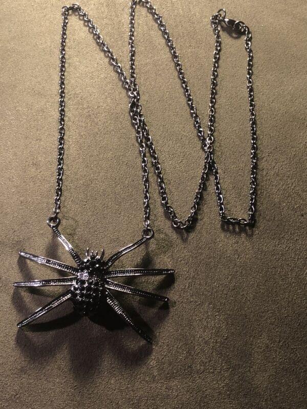 Vintage Halloween Necklace Black Rhinestone Spider