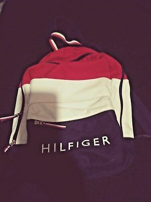 NWT Tommy Hilfiger Canvas   Nylon Backpack Travel Book Bag 2 Pocket  Mens Womens 49d2785d372d3