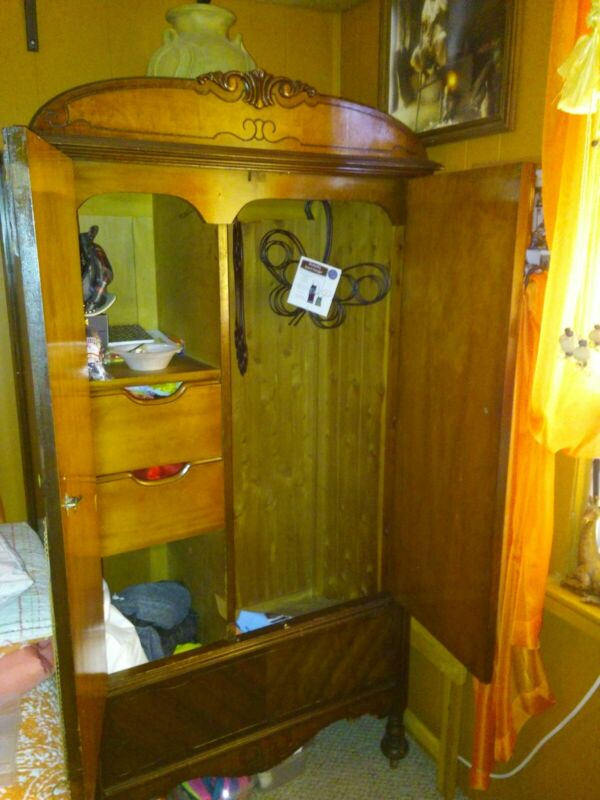 Antique Wardrobe Cabinet with beautiful polished wood