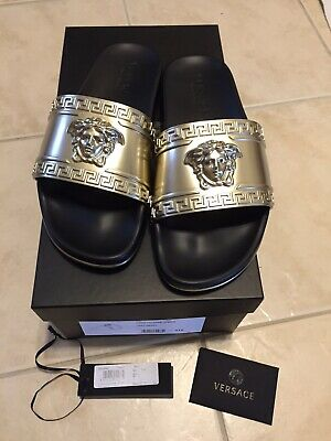 Versace MSRP $395 Slides Gold And Black Medusa Slides Size 8 EU 41