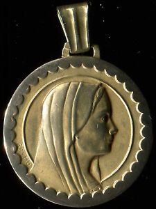 large Antique French Art Deco Virgin Mary Gold Plated Medal Pendant by raymu - France - Antique French Art Deco Virgin Mary Gold Plated Medal Pendant by 1.10 INCH WITHOUT THE BAIL YOU CAN BUY ONE OR MANY CARDS OR POSTCARDS SHIPPING IS THE SAME - France