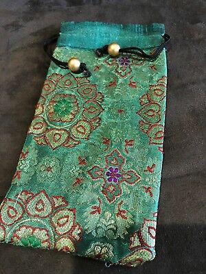 Glasses Phone Pouch Silk Brocade Eyeglass or Sun Glasses Case Holder Drawstring