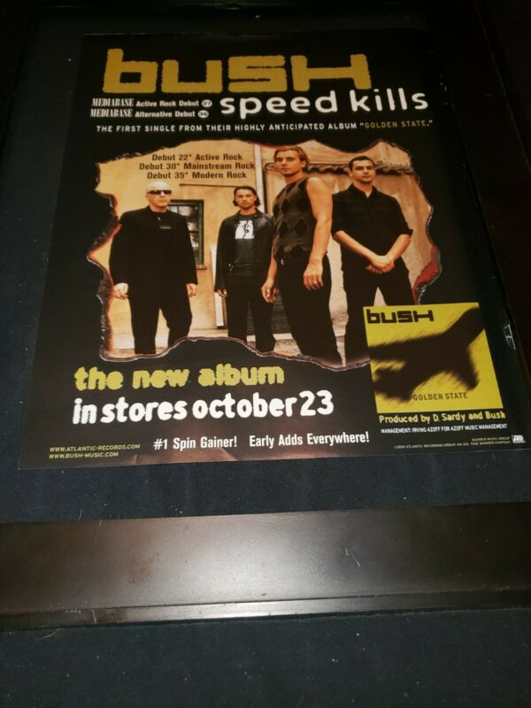 Bush Speed Kills Rare Original Radio Promo Poster Ad Framed!