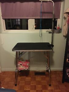 Pet grooming table with arm and shelf