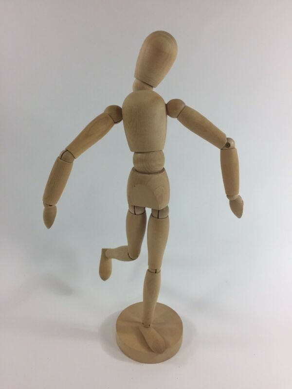 "12"" Jointed Wooden Drawing Artist Figure Mannequin Model, Posable"
