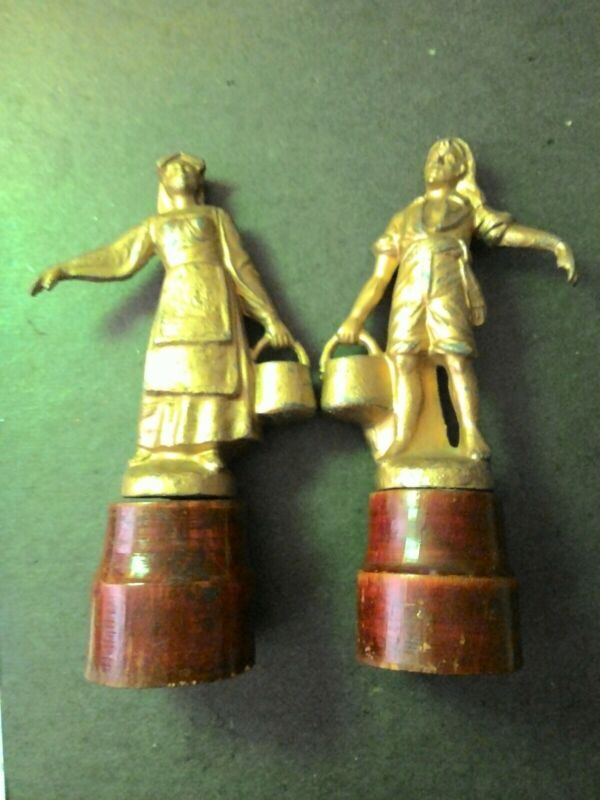 Antique German Metal Finial Pair Laborers