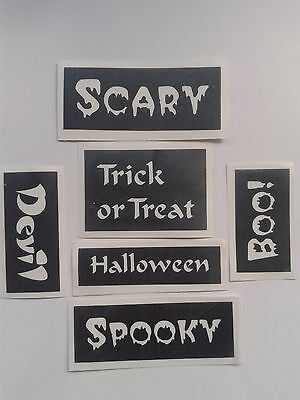 20 x Halloween word stencils for glitter tattoos / airbrush / other craft use. (Word For Halloween)