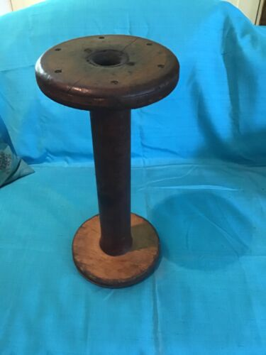 "LARGE Wooden Spool, VintageTextile Antique, Rope mill in Worcester, MA, 15"" tall"