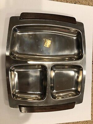 Mid Century Danish Modern Serving Tray Stainless Wood Handles Denmark Vintage
