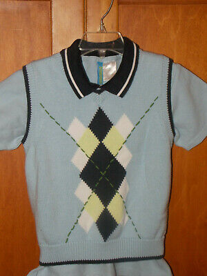 Gymboree Boys Sweater Vest OUTFIT SET LOT Blue Argyle 4 golf polo shirt dress