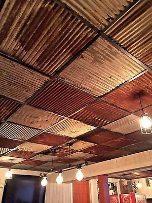 """10 pcs 23 7/8"""" x 23 7/8"""" RECLAIMED TIN ROOFING CORRUGATED PANELS/DROP CEILING##"""