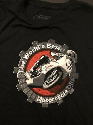"""Castro Motorcycle Oil T-Shirt Men Size Large New Black """"The World Best"""
