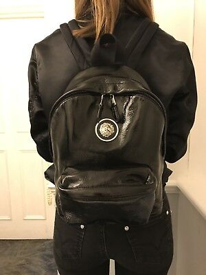 VERSUS VERSACE Backpack Patent Calf Leather with Lion Head Authentic