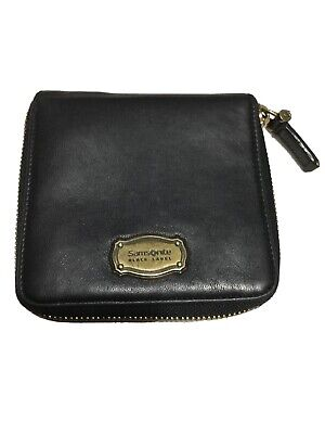 Vintage Samsonite Black Label Blk  Leather Zip Around Wallet.
