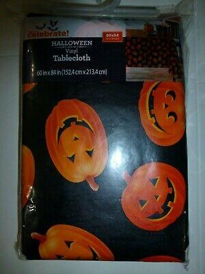 Halloween Vinyl Tablecloth (Halloween Black Vinyl Tablecloth Orange Pumpkins Jackolanterns New 60