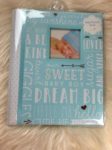 BRAND NEW LIT PEACH BABY BOY GIRL BLUE MEMORY PHOTO ALBUM BOOK SCRAPBOOK