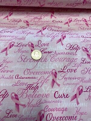 Pink Ribbon Fabric Hearts Breast Cancer Awareness 7659 Breast Cancer Awareness Fabric