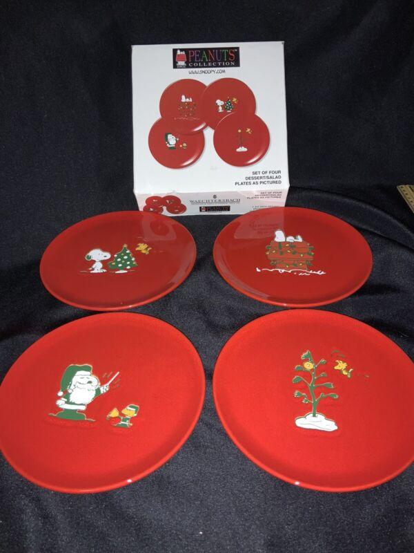 Waechtersbach Christmas PEANUTS Snoopy Set 4 Salad Plates Luncheon Red New