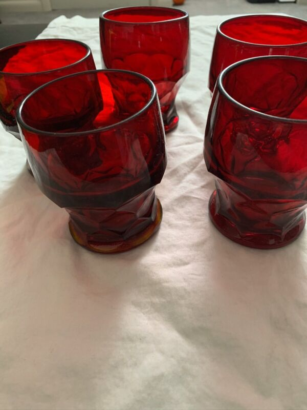 """Vintage Set of 5 Ruby Red  Honeycomb Glass Tumblers 4"""" Glasses"""