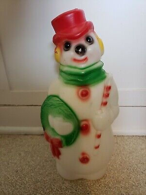 """Empire Plastic Blow Mold Snowman 13"""" Lighted 1968 Light Up Frosty Christmas VTG"""
